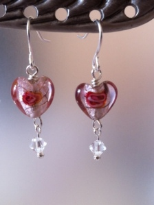 Sweet Heart Earrings with Swarovski  Bicones