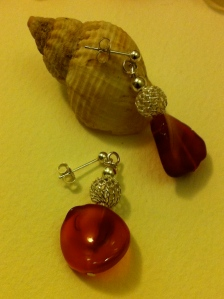 Carnelian and silver net ball earrings