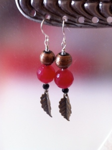 Bronze glass beads, red agate with delicate waving-in-the-breeze leaves