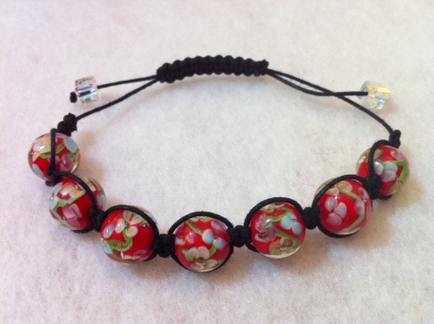 Shamballa style with red floral glass beads