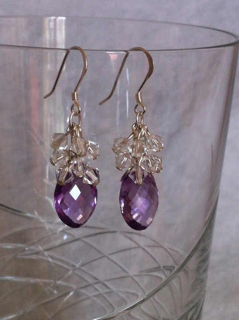 Cascading crystal cluster around Amethyst earrings