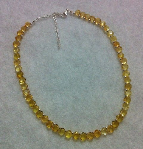 Citrine Teardrops and Silver Bead Necklace